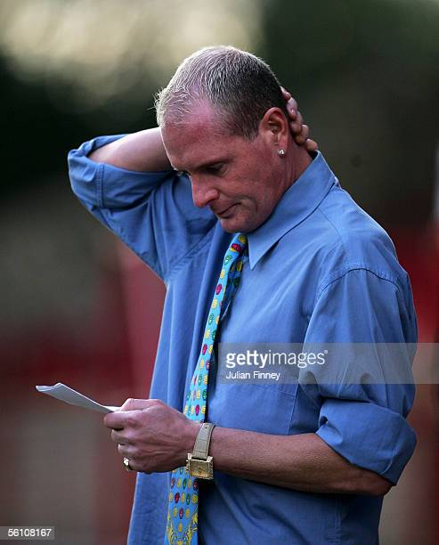 Paul Gascoigne manager of Kettering Town thinks over his tactics during the FA Cup 1st Round match between Kettering Town and Stevenage at Rockingham...