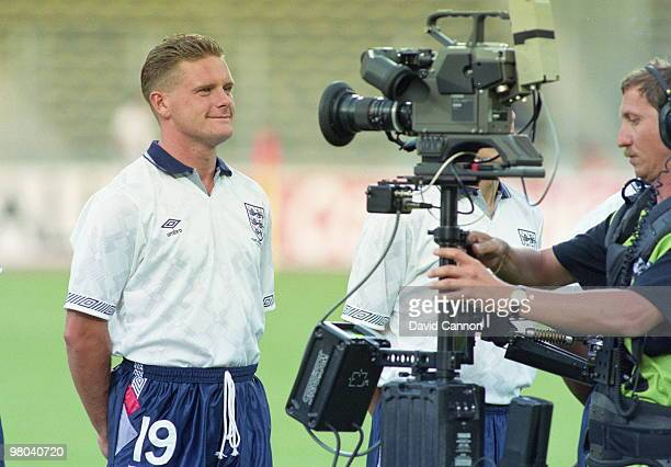 Paul Gascoigne of England makes a funny face to the television camera during the team line up before the 1990 FIFA World Cup Finals SemiFinal match...