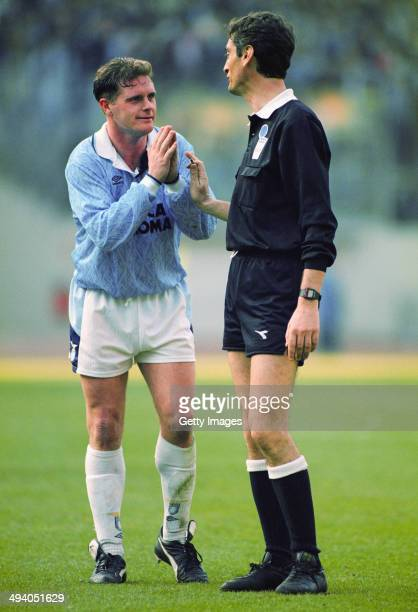 Paul Gascoigne of Lazio pleads with the referee during a Serie A match at the Olympic Stadium on circa 1993 in Rome Italy