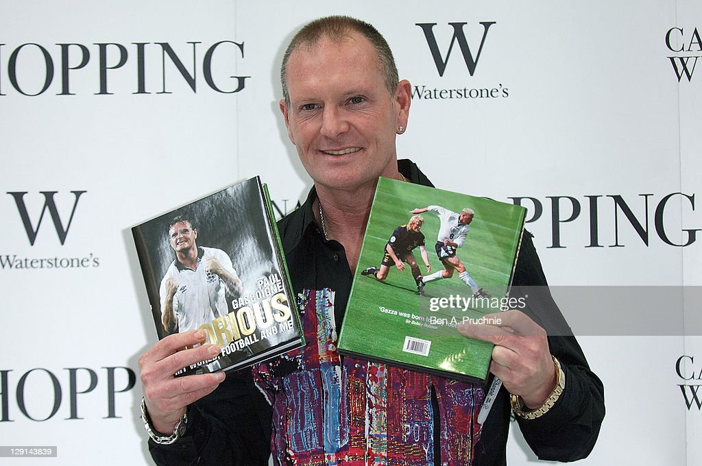 Paul Gascoigne signs copies of his new book at Waterstones Canary Wharf on October 13, 2011 in London, England.