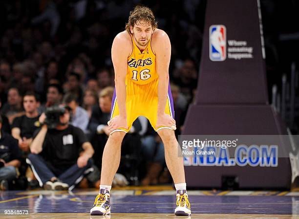 Paul Gasol of the Los Angeles Lakers catches his breath on the back court as he waits for play to resume during the game against the Chicago Bulls at...