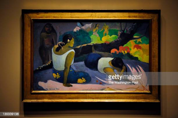 Paul Gauguin's 'Arearea no Varua ino' from 1894 is seen during a media preview showing of the Gauguin Maker of Myth exhibit at The National Gallery...