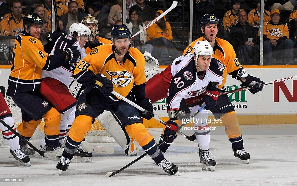 <a gi-track='captionPersonalityLinkClicked' href=/galleries/search?phrase=Paul+Gaustad&family=editorial&specificpeople=577980 ng-click='$event.stopPropagation()'>Paul Gaustad</a> #28 of the Nashville Predators skates against <a gi-track='captionPersonalityLinkClicked' href=/galleries/search?phrase=Jared+Boll&family=editorial&specificpeople=2238879 ng-click='$event.stopPropagation()'>Jared Boll</a> #40 of the Columbus Blue Jackets in the season opener at Bridgestone Arena on January 19, 2013 in Nashville, Tennessee.