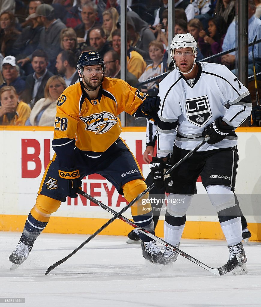 <a gi-track='captionPersonalityLinkClicked' href=/galleries/search?phrase=Paul+Gaustad&family=editorial&specificpeople=577980 ng-click='$event.stopPropagation()'>Paul Gaustad</a> #28 of the Nashville Predators skates against <a gi-track='captionPersonalityLinkClicked' href=/galleries/search?phrase=Jeff+Carter&family=editorial&specificpeople=227320 ng-click='$event.stopPropagation()'>Jeff Carter</a> #77 of the Los Angeles Kings at Bridgestone Arena on October 17, 2013 in Nashville, Tennessee.