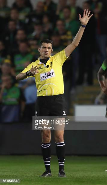 Paul Gauzere the referee awards a penalty during the European Rugby Champions Cup match between Northampton Saints and Saracens at Franklin's Gardens...