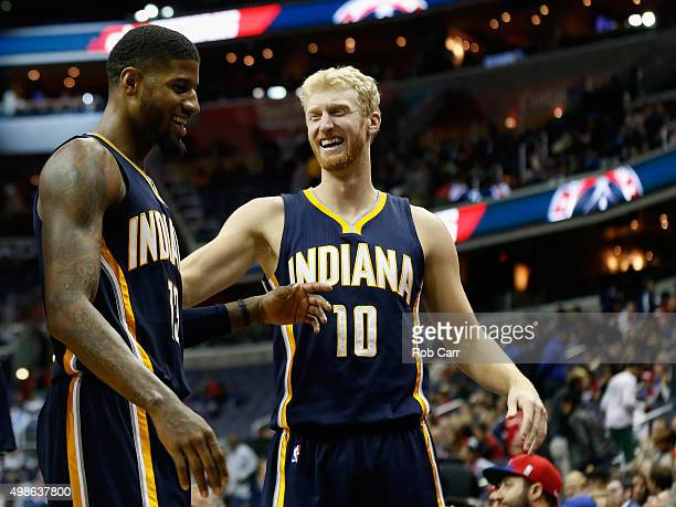 Paul George and Chase Budinger of the Indiana Pacers celebrate in the closing moments of their 123106 win over the Washington Wizards at Verizon...