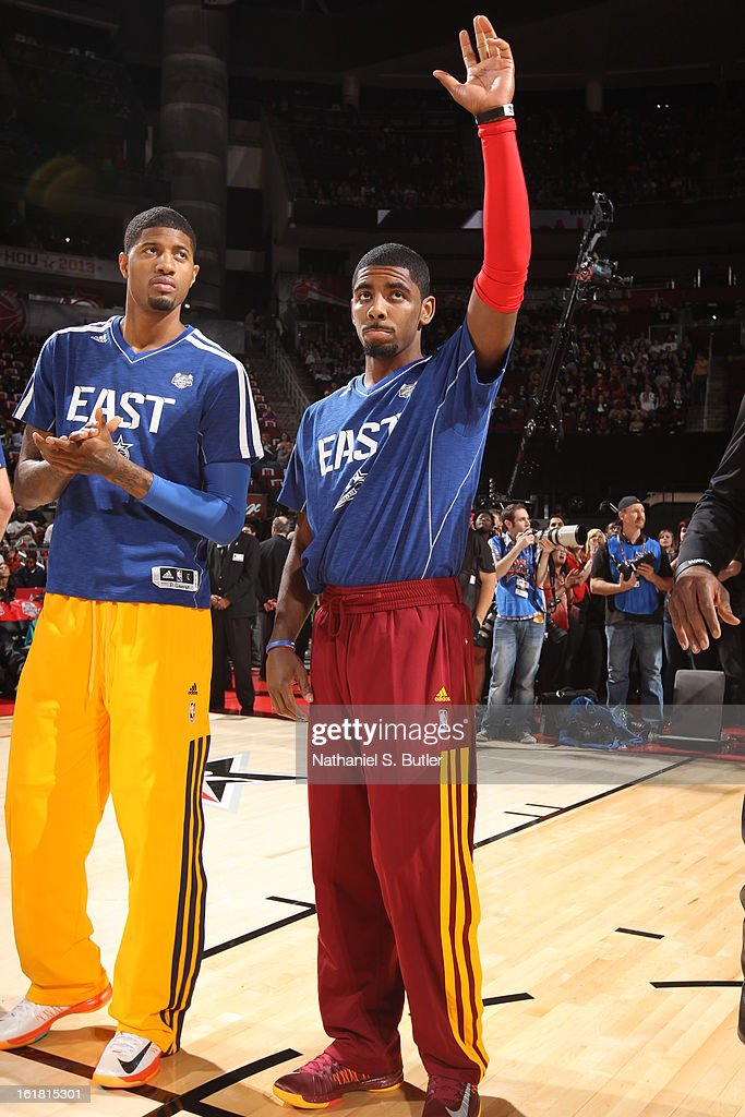 Paul George and <a gi-track='captionPersonalityLinkClicked' href=/galleries/search?phrase=Kyrie+Irving&family=editorial&specificpeople=6893971 ng-click='$event.stopPropagation()'>Kyrie Irving</a> of Team East before State Farm All-Star Saturday Night of the 2013 NBA All-Star Weekend on February 16, 2013 at the Toyota Center in Houston, Texas.