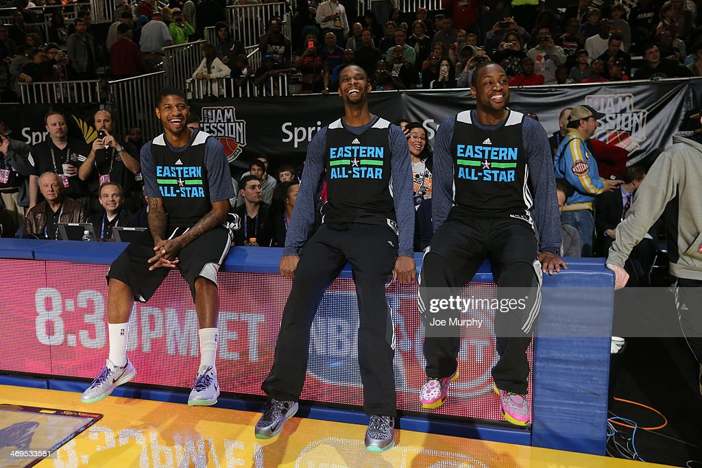 Paul George #24, Chris Bosh #1 and Dwyane Wade #3 of the Eastern Conference All-Stars talk during the NBA All-Star Practices at Sprint Arena as part of 2014 NBA All-Star Weekend at the Ernest N. Morial Convention Center on February 15, 2014 in New Orleans, Louisiana.