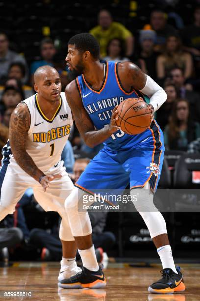 Paul George handles the ball against the Denver Nuggets on October 10 2017 at the Pepsi Center in Denver Colorado NOTE TO USER User expressly...