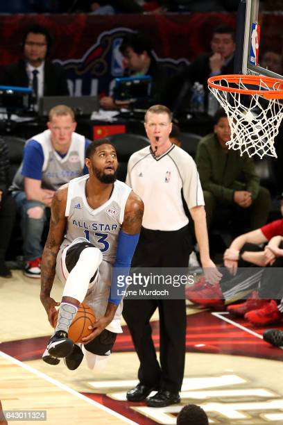 Paul George of the Eastern Conference AllStar Team goes for a dunk during the NBA AllStar Game as part of the 2017 NBA All Star Weekend on February...