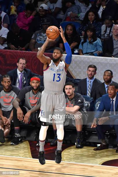 Paul George of the Eastern Conference AllStar Team shoots the ball during the 2017 NBA AllStar Game on February 19 2017 at the Smoothie King Center...