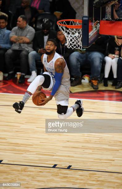Paul George of the Eastern Conference dunks during the NBA AllStar Game as part of the 2017 NBA All Star Weekend on February 19 2017 at the Smoothie...