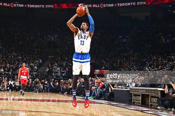 Paul George of the Eastern Conference shoots the ball during the NBA AllStar Game as part of 2016 NBA AllStar Weekend on February 14 2016 at the Air...