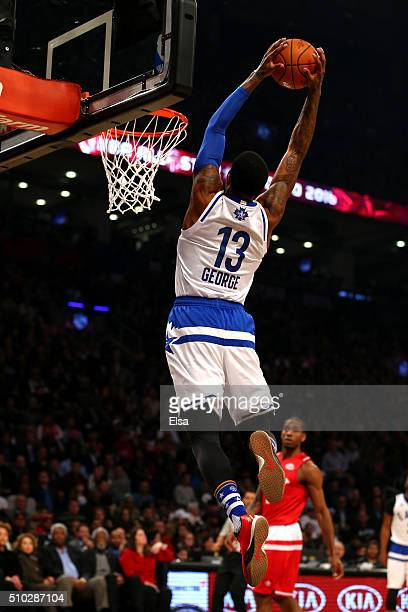 Paul George of the Indiana Pacers and the Eastern Conference dunks in the first quarter against the Western Conference during the NBA AllStar Game...