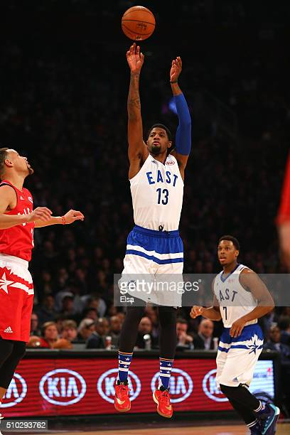 Paul George of the Indiana Pacers and the Eastern Conference shoots in the first half against the Western Conference during the NBA AllStar Game 2016...