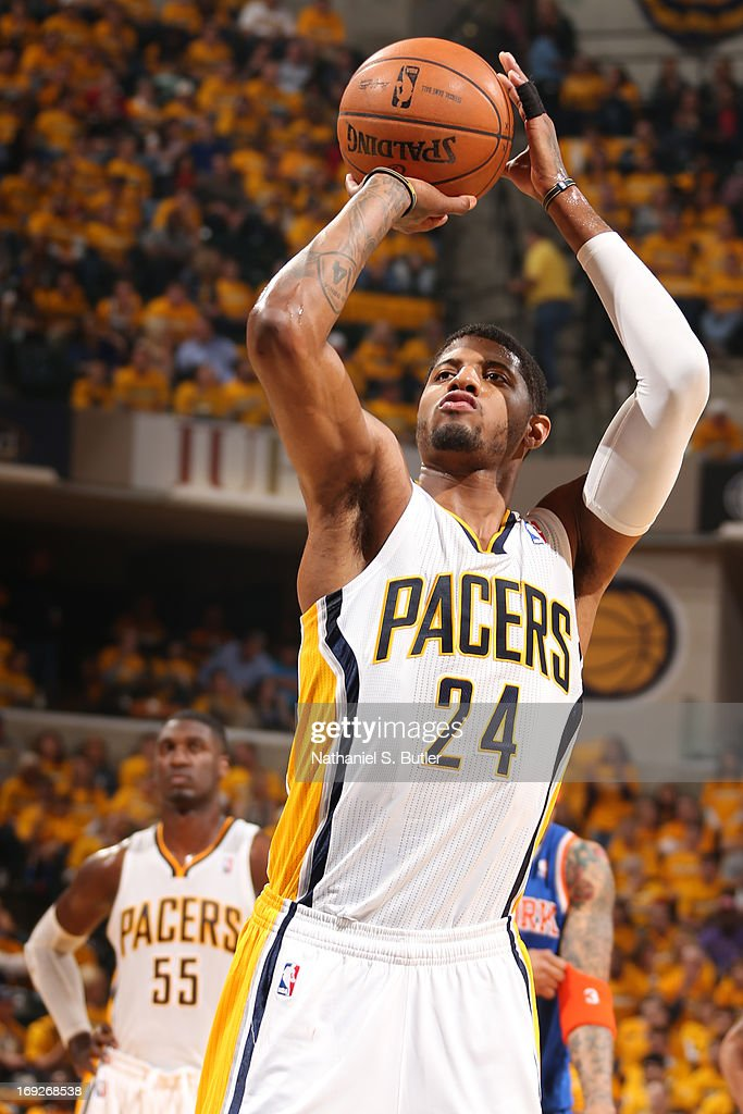 Paul George #24 of the Indiana Pacers attempts a foul shot against the New York Knicks in Game Three of the Eastern Conference Semifinals during the 2013 NBA Playoffs on May 11, 2013 at the Bankers Life Fieldhouse in Indianapolis.