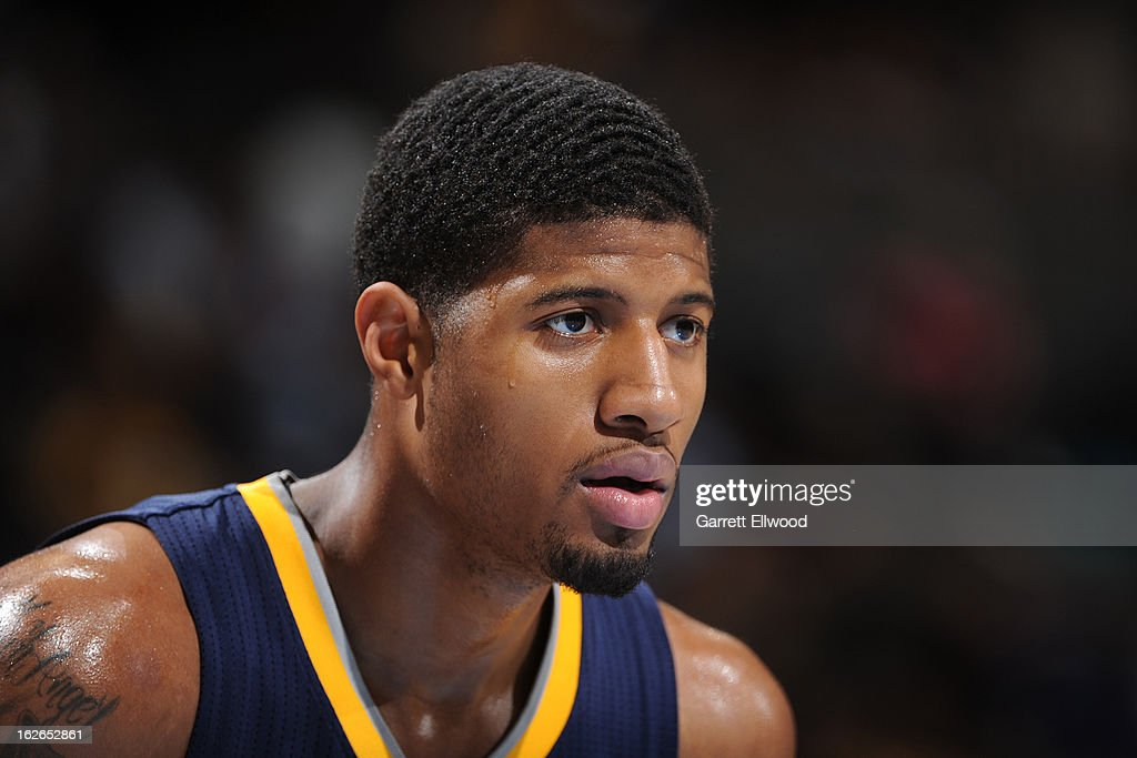 Paul George #24 of the Indiana Pacers awaits a rebound during the game against the Denver Nuggets on January 28, 2013 at the Pepsi Center in Denver, Colorado.