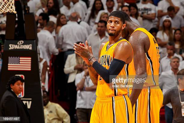 Paul George of the Indiana Pacers celebrates after pulling ahead in the fourth quarter against the Miami Heat in Game Two of the Eastern Conference...