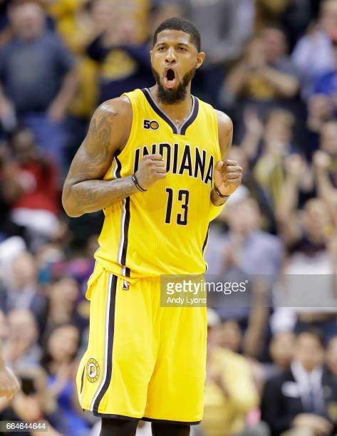 Paul George of the Indiana Pacers celebrates during the 10890 win over the Toronto Raptors at Bankers Life Fieldhouse on April 4 2017 in Indianapolis...