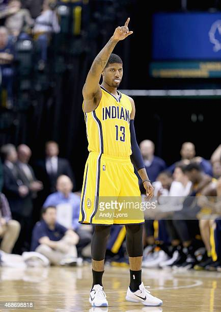 Paul George of the Indiana Pacers celebrates in the game against the Miami Heat at Bankers Life Fieldhouse on April 5 2015 in Indianapolis Indiana...