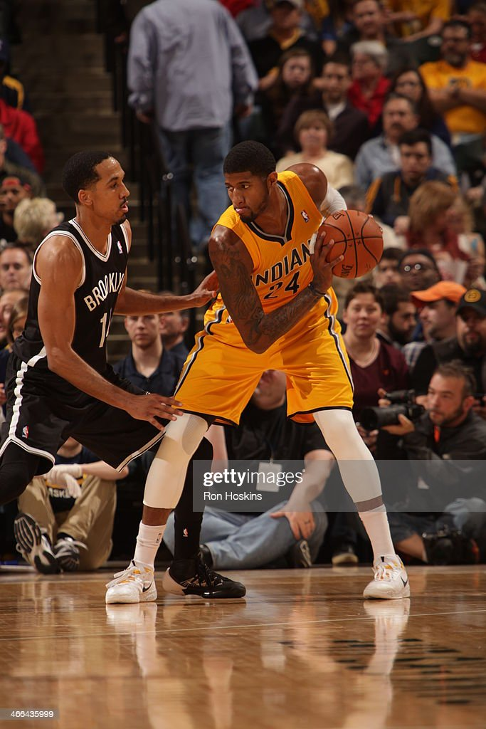 Paul George #24 of the Indiana Pacers controls the ball against the Brooklyn Nets at Bankers Life Fieldhouse on February 1, 2014 in Indianapolis, Indiana.