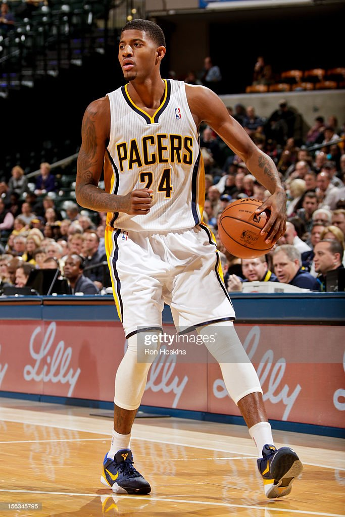 Paul George #24 of the Indiana Pacers controls the ball against the Toronto Raptors on November 13, 2012 at Bankers Life Fieldhouse in Indianapolis, Indiana.