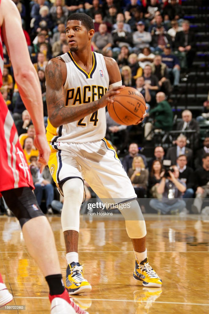 Paul George #24 of the Indiana Pacers controls the ball against the Houston Rockets on January 18, 2013 at Bankers Life Fieldhouse in Indianapolis, Indiana.