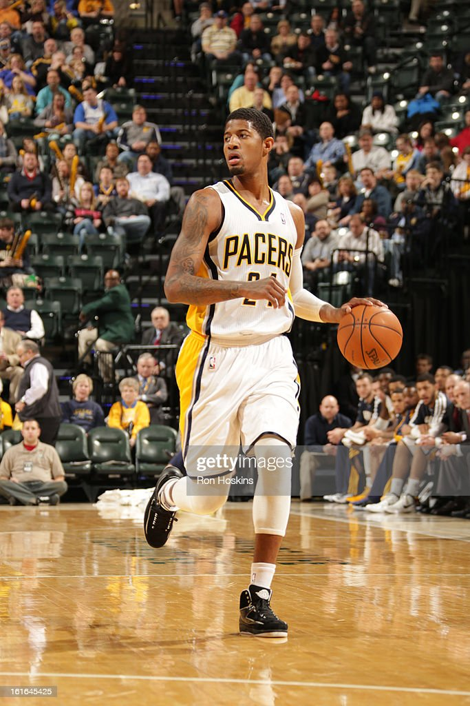 Paul George #24 of the Indiana Pacers controls the ball against the Charlotte Bobcats on February 13, 2013 at Bankers Life Fieldhouse in Indianapolis, Indiana.