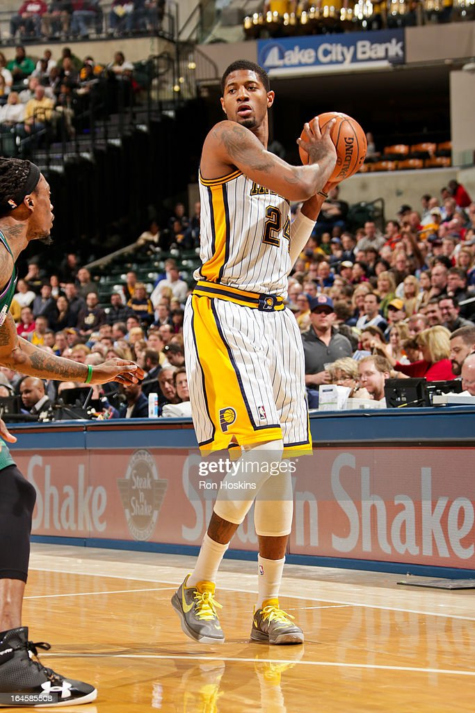Paul George #24 of the Indiana Pacers controls the ball against the Milwaukee Bucks on March 22, 2013 at Bankers Life Fieldhouse in Indianapolis, Indiana.