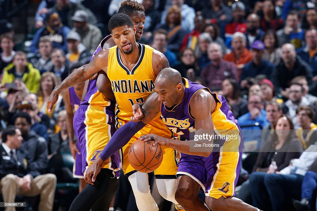 <a gi-track='captionPersonalityLinkClicked' href=/galleries/search?phrase=Paul+George+-+Basketball&family=editorial&specificpeople=7235030 ng-click='$event.stopPropagation()'>Paul George</a> #13 of the Indiana Pacers defends against <a gi-track='captionPersonalityLinkClicked' href=/galleries/search?phrase=Kobe+Bryant&family=editorial&specificpeople=201466 ng-click='$event.stopPropagation()'>Kobe Bryant</a> #24 of the Los Angeles Lakers in the first half of the game at Bankers Life Fieldhouse on February 8, 2016 in Indianapolis, Indiana.