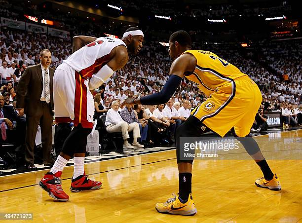 Paul George of the Indiana Pacers defends against LeBron James of the Miami Heat during Game Six of the Eastern Conference Finals of the 2014 NBA...