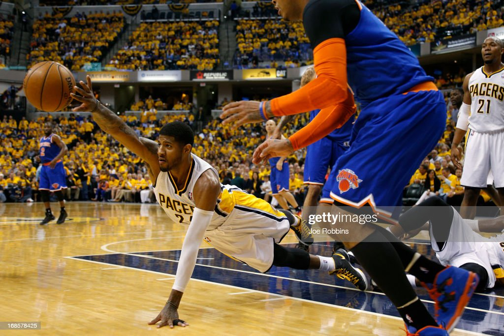 Paul George #24 of the Indiana Pacers dives for the ball against the New York Knicks during game three of the Eastern Conference Semifinals of the 2013 NBA Playoffs at Bankers Life Fieldhouse on May 11, 2013 in Indianapolis, Indiana. The Pacers won 82-71.