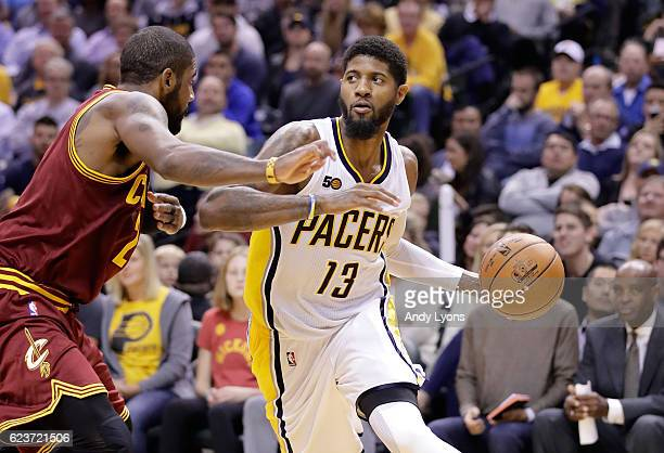 Paul George of the Indiana Pacers dribbles the ball during the game against the Cleveland Cavaliers at Bankers Life Fieldhouse on November 16 2016 in...