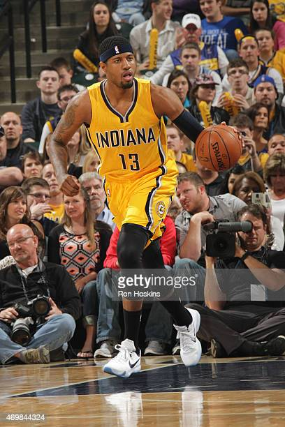 Paul George of the Indiana Pacers drives against the Washington Wizards at Bankers Life Fieldhouse on April 14 2015 in Indianapolis Indiana NOTE TO...
