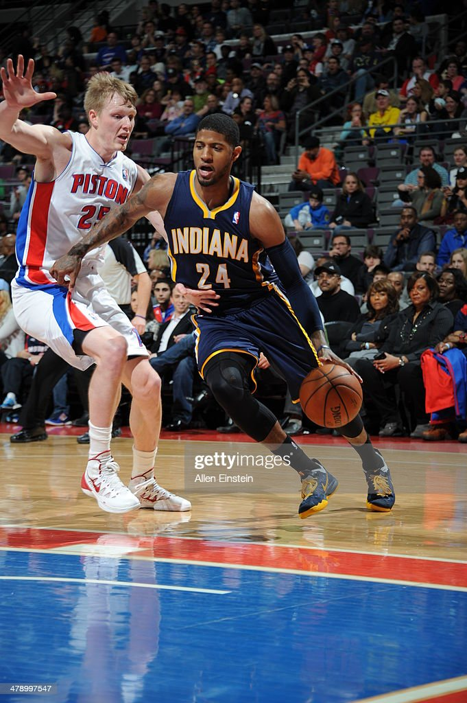 Paul George #24 of the Indiana Pacers drives baseline against the Detroit Pistons during the game on March 15, 2014 at The Palace of Auburn Hills in Auburn Hills, Michigan.