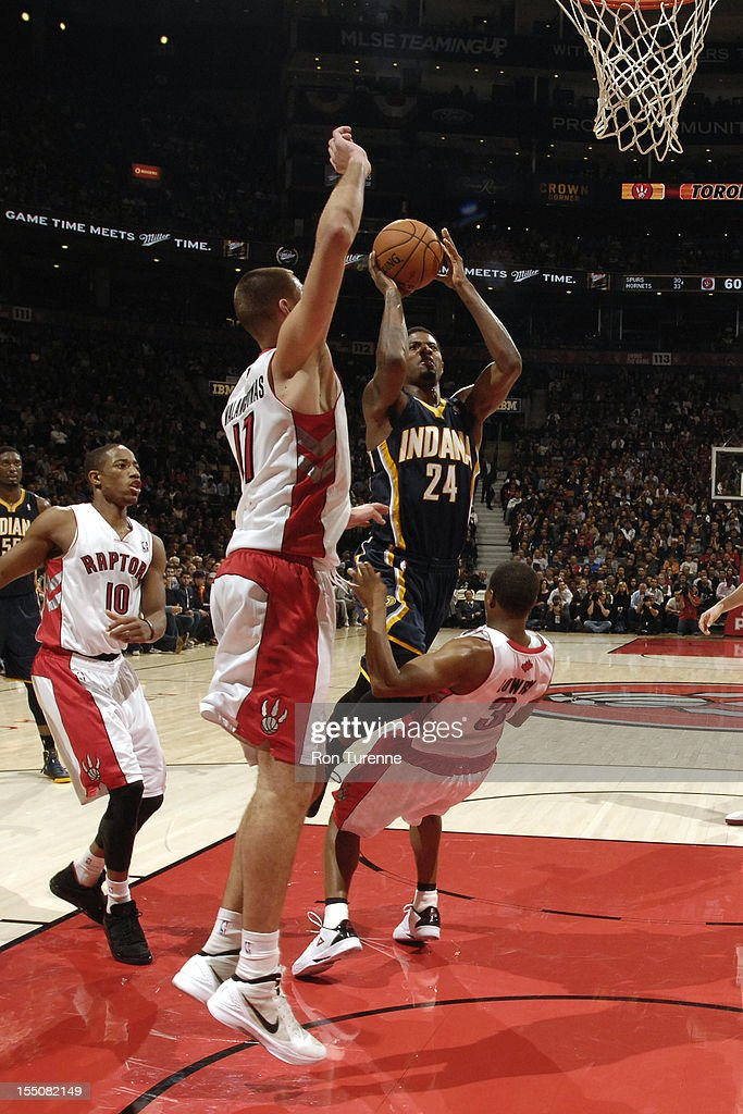 Paul George #24 of the Indiana Pacers drives to the basket against the Toronto Raptors on October 31, 2012 at the Air Canada Centre in Toronto, Ontario, Canada.