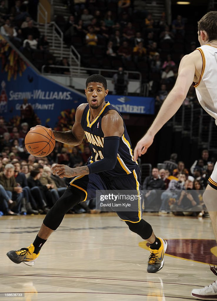 Paul George #24 of the Indiana Pacers drives to the basket against the Cleveland Cavaliers at The Quicken Loans Arena on December 21, 2012 in Cleveland, Ohio.