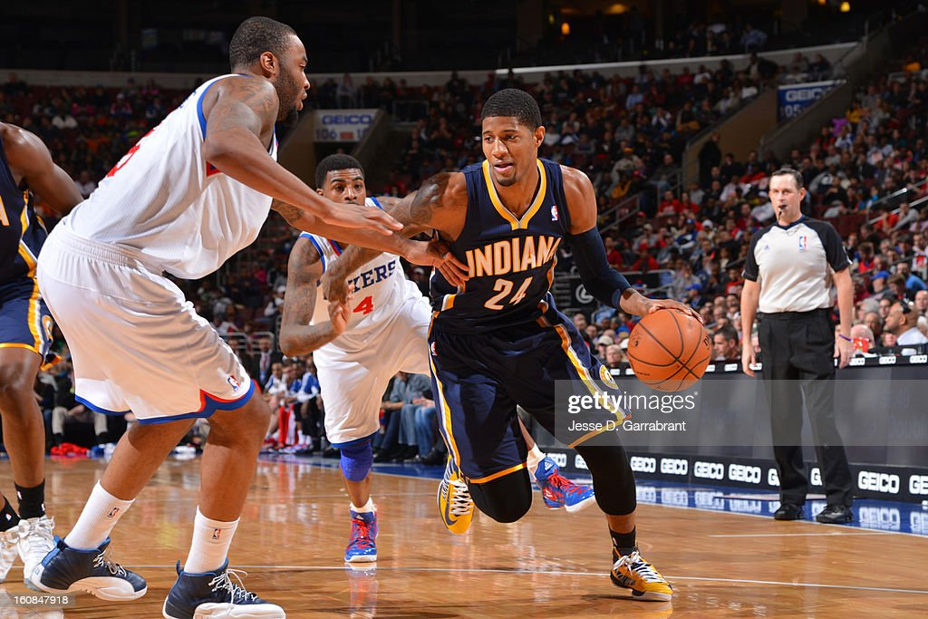Paul George #24 of the Indiana Pacers drives to the basket against the Philadelphia 76ers at the Wells Fargo Center on February 6, 2013 in Philadelphia, Pennsylvania.