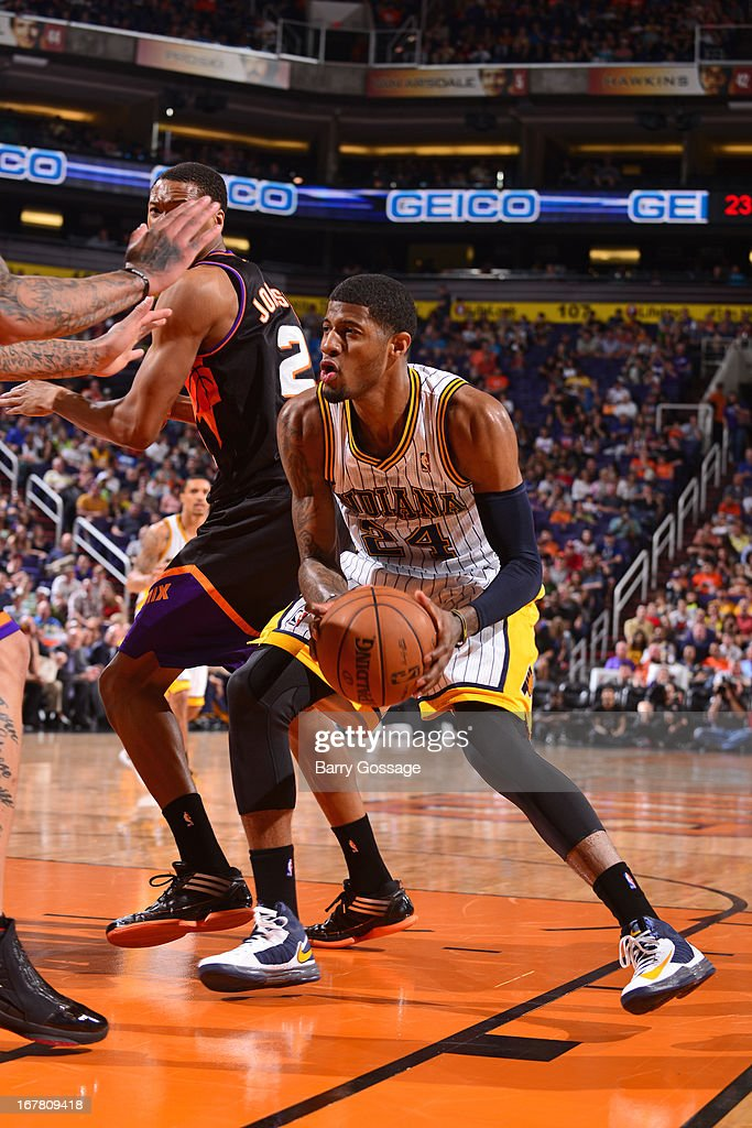 Paul George #24 of the Indiana Pacers drives to the basket against the Phoenix Suns on March 30, 2013 at U.S. Airways Center in Phoenix, Arizona.