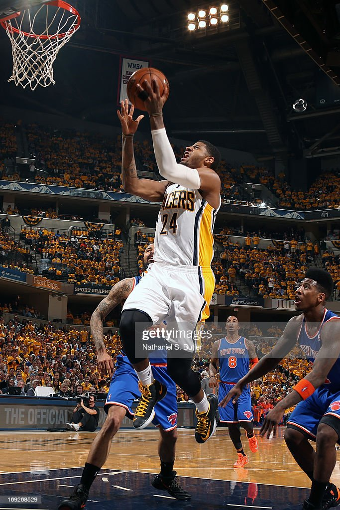 Paul George #24 of the Indiana Pacers drives to the basket against the New York Knicks in Game Three of the Eastern Conference Semifinals during the 2013 NBA Playoffs on May 11, 2013 at the Bankers Life Fieldhouse in Indianapolis.