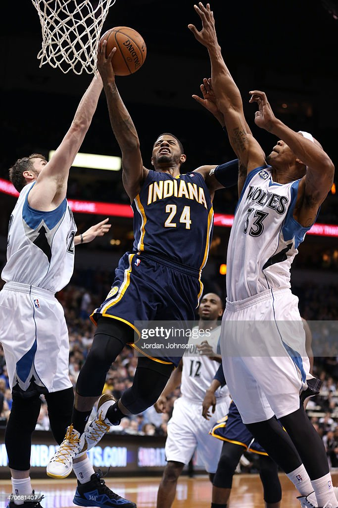 Paul George #24 of the Indiana Pacers drives to the basket against the Minnesota Timberwolves on February 19, 2014 at Target Center in Minneapolis, Minnesota.
