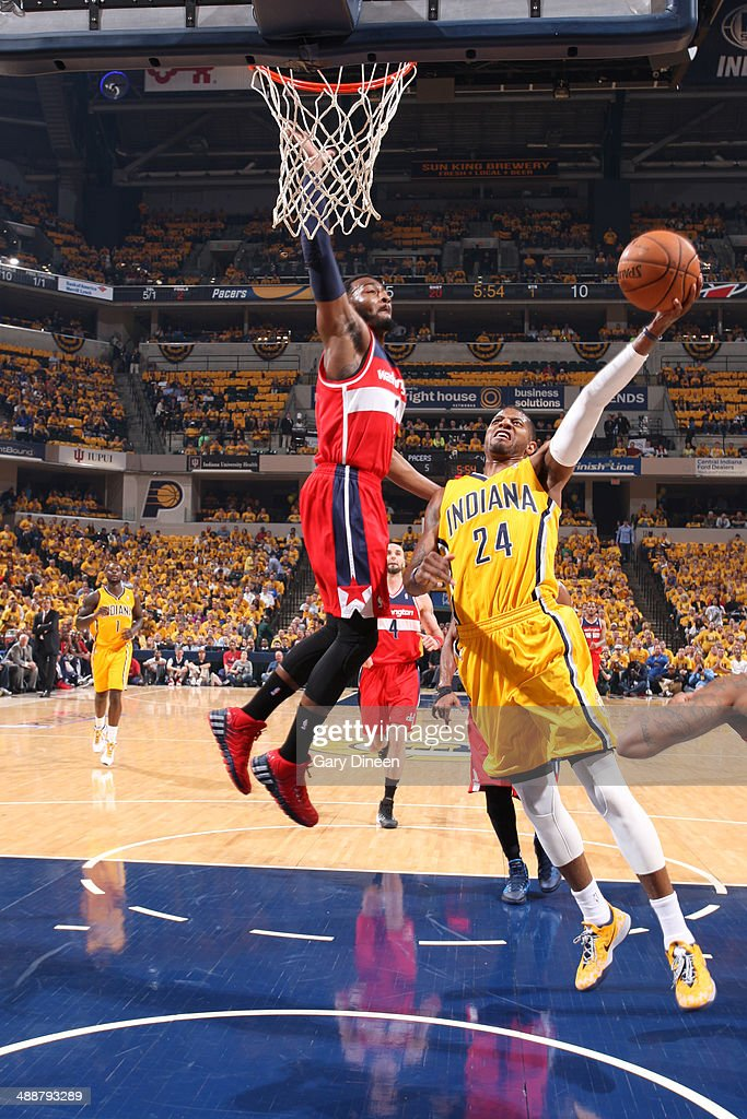 Paul George #24 of the Indiana Pacers drives to the basket during Game One of the Eastern Conference Semifinals against the Washington Wizards on May 5, 2014 at Bankers Life Fieldhouse in Indianapolis, Indiana.
