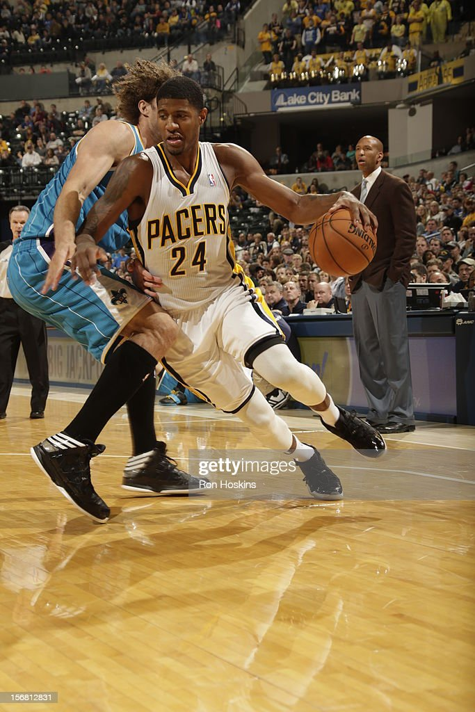 Paul George #24 of the Indiana Pacers drives to the basket vs the New Orleans Hornets on November 21, 2012 at Bankers Life Fieldhouse in Indianapolis, Indiana.