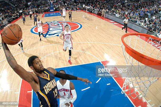Paul George of the Indiana Pacers dunks against Detroit Pistons during the game on November 3 2015 at The Palace of Auburn Hills in Auburn Hills...