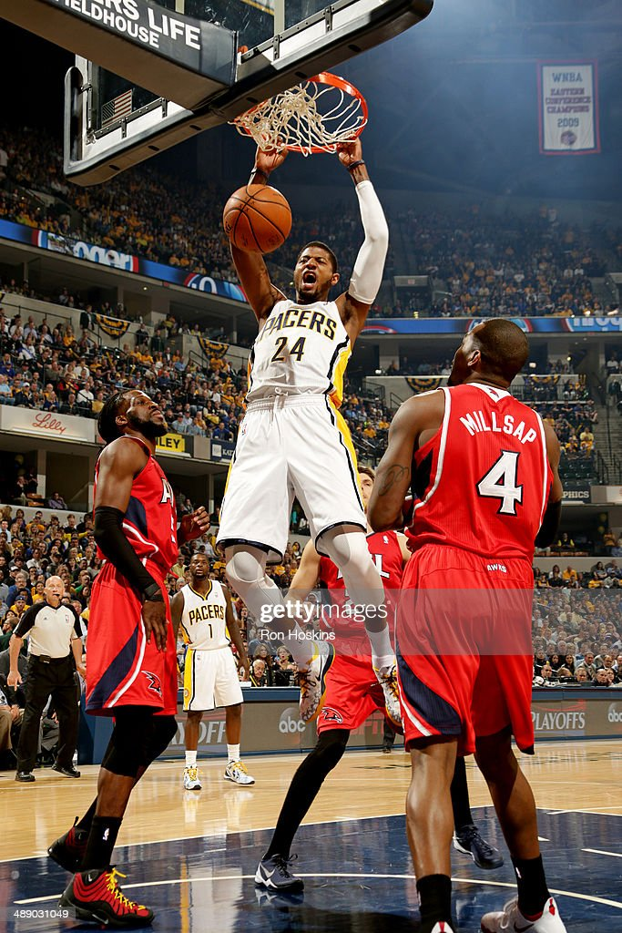 Paul George #24 of the Indiana Pacers dunks against the Atlanta Hawks in Game Five of the East Conference Quarter Finals of the 2014 NBA playoffs at Bankers Life Fieldhouse on April 28, 2014 in Indianapolis, Indiana.