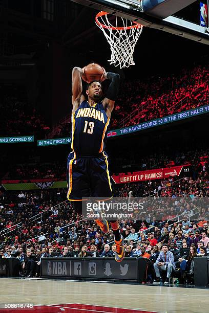 Paul George of the Indiana Pacers dunks against the Atlanta Hawks on February 5 2016 at Philips Arena in Atlanta Georgia NOTE TO USER User expressly...