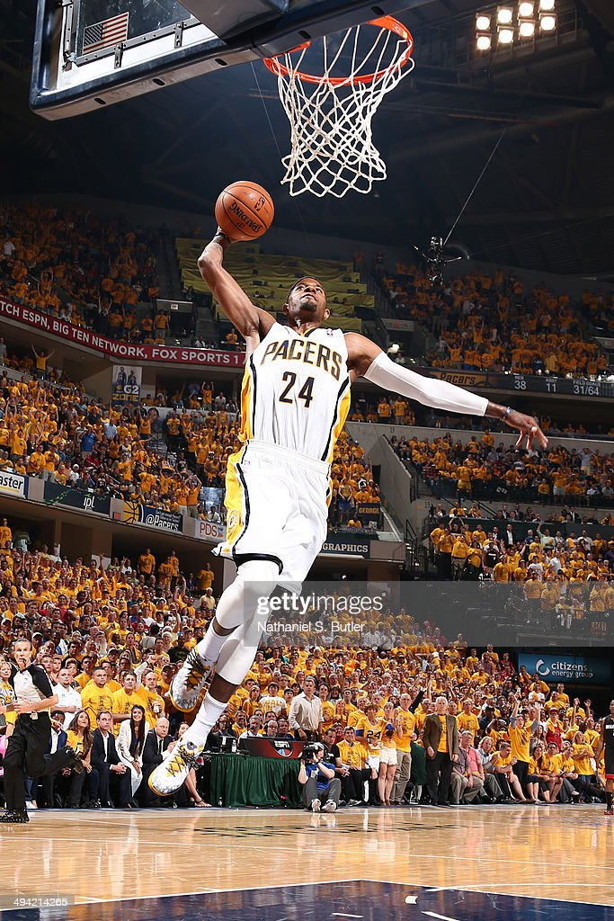 Paul George of the Indiana Pacers dunks against the Miami Heat in Game Five of the Eastern Conference Finals during the 2014 NBA Playoffs on May 28...