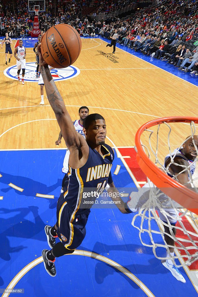 Paul George #24 of the Indiana Pacers dunks against the Philadelphia 76ers at the Wells Fargo Center on March 16, 2013 in Philadelphia, Pennsylvania.