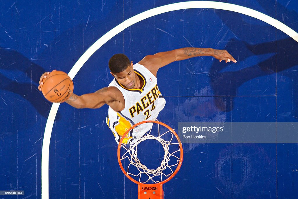 Paul George #24 of the Indiana Pacers dunks against the Toronto Raptors on November 13, 2012 at Bankers Life Fieldhouse in Indianapolis, Indiana.