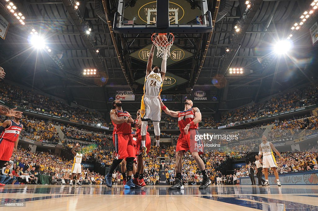 Paul George #24 of the Indiana Pacers dunks against the Washington Wizards in Game Two of the Eastern Conference Semi-Finals during the 2014 NBA Plaoffs at Bankers Life Fieldhouse on May 7, 2014 in Indianapolis, Indiana.